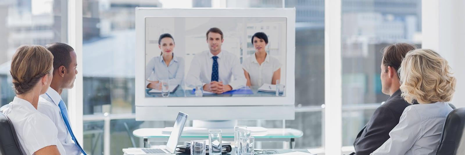 bigstock-Business-team-having-video-con-55903958